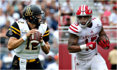 Quater back ready to throw the ball on Appalachian State vs. Louisiana Lafayette game
